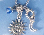 Celestial Sun with Stars, Moon Swarovski Crystal Silver Charms Necklace Steel or Sterling Silver chain