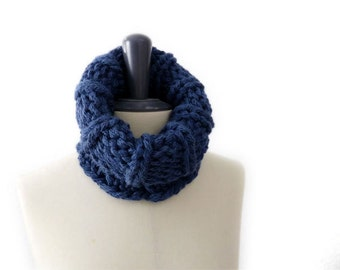ON SALE Chunky Snood / Circle Scarf / Neckwarmer. Indigo Blue. Hand Knit. Women / Children / Teens. Fall / Winter