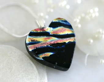 Glass Heart Dichroic Fused Glass Pendant Necklace Jewelry 01117, GetGlassy