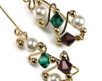 Christmas Ear Sweeps Ear Climbers 14k Gold Filled or Sterling Silver Earrings Holiday Swarovski Pearl and Crystal