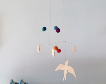 plywood bird mobile with bright colours/ nursery mobile / handmade modern mobile
