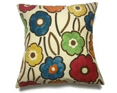 Decorative Pillow Cover Blue Orange Tangerine Gold Moss Green Red Same Fabric Front/Back Floral  Throw Accent 18 x18 inch x