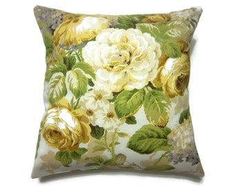 Decorative Pillow Cover Bold Floral Design Yellow Green Taupe Gray White Same Fabric Front/Back 18x18 inch