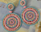 Seed Bead Earrings Colorful Disc Earrings Turquoise Sand Multicolored Post Stud Earrings