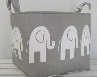Fabric Organizer Bin Toy Storage Container Basket - White Ele Elephant on Gray Fabric  - 8 x 8 x 8