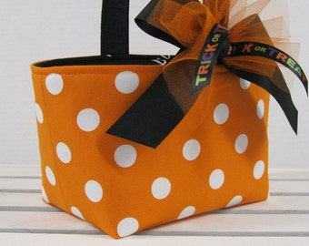 Halloween Trick or Treat Bag Basket Candy Bucket Party Favor - Orange with White Dots Fabric - Personalized Name Tag Applique Available