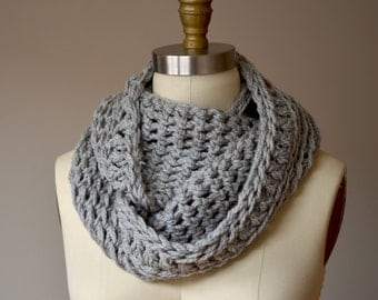 Sale - soft gray loop scarf - thick chunky handmade cowl