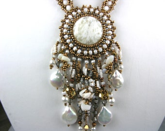 Fringed Gemstone Necklace - Bead Embroidered Angel Wing White Plume Agate & Gold Pendant Handmade Artisan Jewelry Statement Gift