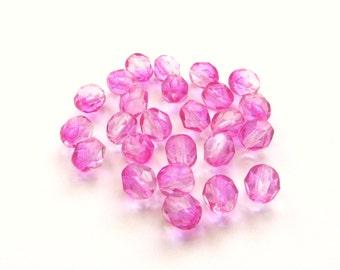 Bright Bubblegum Pink Faceted Round Czech Glass Beads, 6mm - 25 pieces