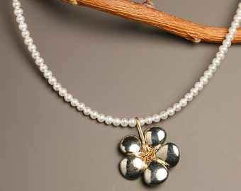 Pyrite Petals and Pearls Necklace