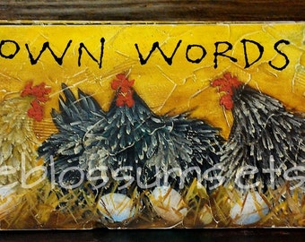 Chickens Hens Laying Nesting Art on Rustic Wood