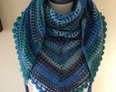 Colours of the Sea Crochet Ladies-Womens Festival- Road Trip Scarf-Wrap-Stole-Neckwear-Wrapping.Ready to ship