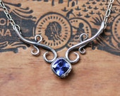 Tanzanite necklace, tanzanite jewelry, luxury jewelry, delicate silver necklace, rare gemstone, anniversary gift, wrought, ready to ship