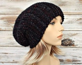 Grey Knit Hat Grey Hat Grey Womens Hat - Slouchy Hat in Black Charcoal Grey Slouchy Beanie Womens Accessories Winter Hat