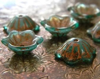 Mer de Cuivre (10) -Czech Glass Domed Flowers 12x11mm
