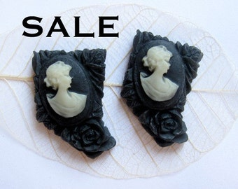 LOW Stock- 3 Sets Left- Vintage Black and White Plastic Cameo with a Flower Carving (Facing same way) (CB517) SALE - 50% off