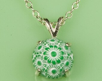 Vintage Green and White Floral Button Necklace