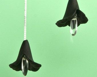 Vintage Black Lucite Flower Drop Earrings