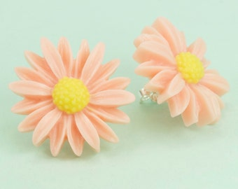 Large Pink Daisy Post Earrings set on Sterling Silver