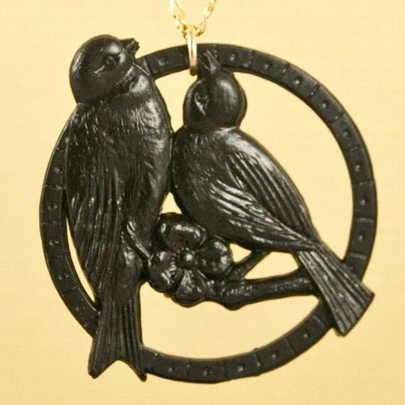 Vintage Black Lovebirds Celluloid Bird Necklace