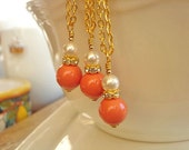 Coral White Pearl Necklace Bridesmaid Necklace White Pearl Necklace  Wedding Jewelry Gold Necklace
