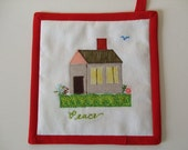 Fabric Potholder - House - Peace