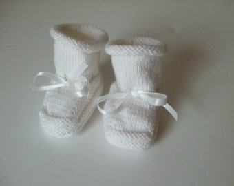 Handknit Baby Booties and Why I Made Them  - White as Snow