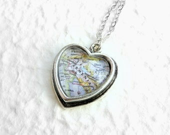 Armenia Map Necklace - Petite Heart Shaped Also featuring Yerevan