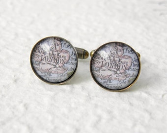 London Map Cufflinks Cuff links - YOU PICK your map - Choose from 16 designs and 9 finishes - Great for groomsmen Gift