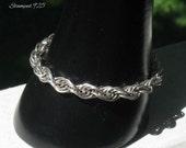 Sterling Silver Vintage Rope Bracelet, Flexible Chainmaille Bracelet, 1980's Jewelry Bracelet for Smaller Wrist, Gift for Her