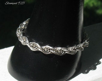 Sterling Silver 1980's Rope Bracelet, Flexible Chainmaille Bracelet for Smaller Wrist, Vintage Jewelry Gift for Her