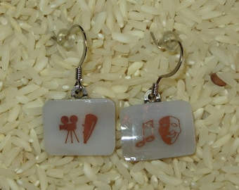 THEATRICAL AND FILM production fused glass sepia tone earrings
