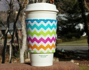 FREE SHIPPING UPGRADE with minimum -  Fabric coffee cozy / cup holder / coffee sleeve  -- Neon Chevron