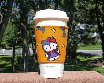 FREE SHIPPING UPGRADE with minimum -  Fabric coffee cozy / cup holder / coffee sleeve - Halloween Hello Kitty