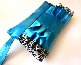 Jewel Blue Satin Ruffle with Black Floral Print Wristlet