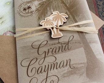Rustic Palm Tree Wedding Invitation, Grand Cayman(Printed Pocket Fold) - Design Fee