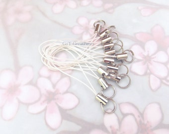 12 White Cell Phone Charm Straps, w/ Split Rings, bright white straps with silver-tone metal--DIY, white wedding, supplies