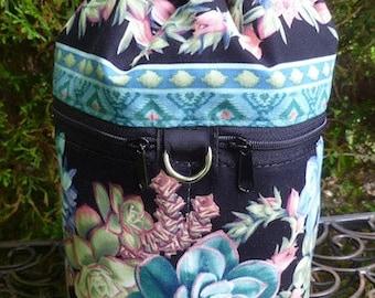 Knitting bag, drawstring bag, knitting in public bag, Succulents, small project bag, Kipster