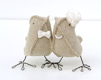 Burlap Birds Wedding Cake Topper Burlap and Ivory Bow Tie Bridal Flower Pearly Necklace