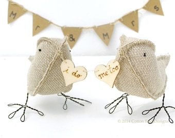 Wedding Cake Topper Burlap Birds Rustic Woodland Wedding I do me too by Cotton Bird Designs