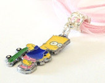 Bart Simpson with Skate Board  Necklace  Pale Pink Organza Necklace