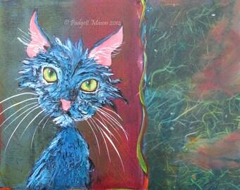 "Original acrylic painting by Padgett Mason Funky Feline 12"" x 12"" kitty cat ""Astro Cat"""