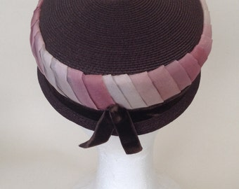 Vintage ombre straw pillbox hat - rose pink