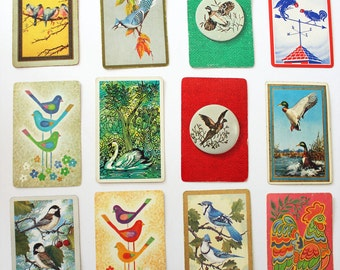 Twelve Vintage Playing Cards Birds