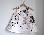 Stockholm Modern Baby Girls, Toddler Dress- Simple Elegant Bold Pastel Abstract Organic Children's Clothing - sizes Newborn to Girls size 2T