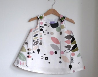 Stockholm Modern Baby Girls, Toddler Dress- Simple Elegant Bold Pastel Abstract Organic Children's Clothing - sizes Newborn to Girls size 2T