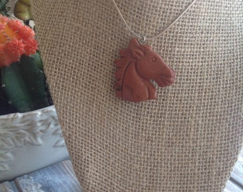 Horse Necklace-gemstone carved horse head-Gold Stone,gemstone-sterling silver, necklace,focal bead-horses-jewelry-carved horse, bead,Healing