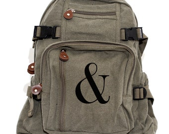 Backpack Ampersand, Canvas Backpack, Rucksack, Travel Backpack, Serif, Typography, Bag, Weekender Bag, Men's Backpack, Women's Backpack