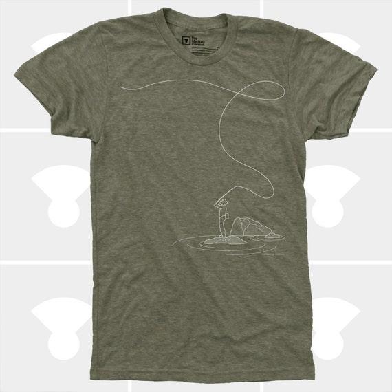 Fly Fishing Shirt, Fishing Gift, Men's Clothes, Fishing TShirt, Hipster, Colorado, Mens Graphic Tee, Fly Rod, Men's Fly Fishing TShirt Green