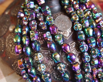Full Strand of Titanium-plated Non-Magnetic Shiny Hematite Skull Beads